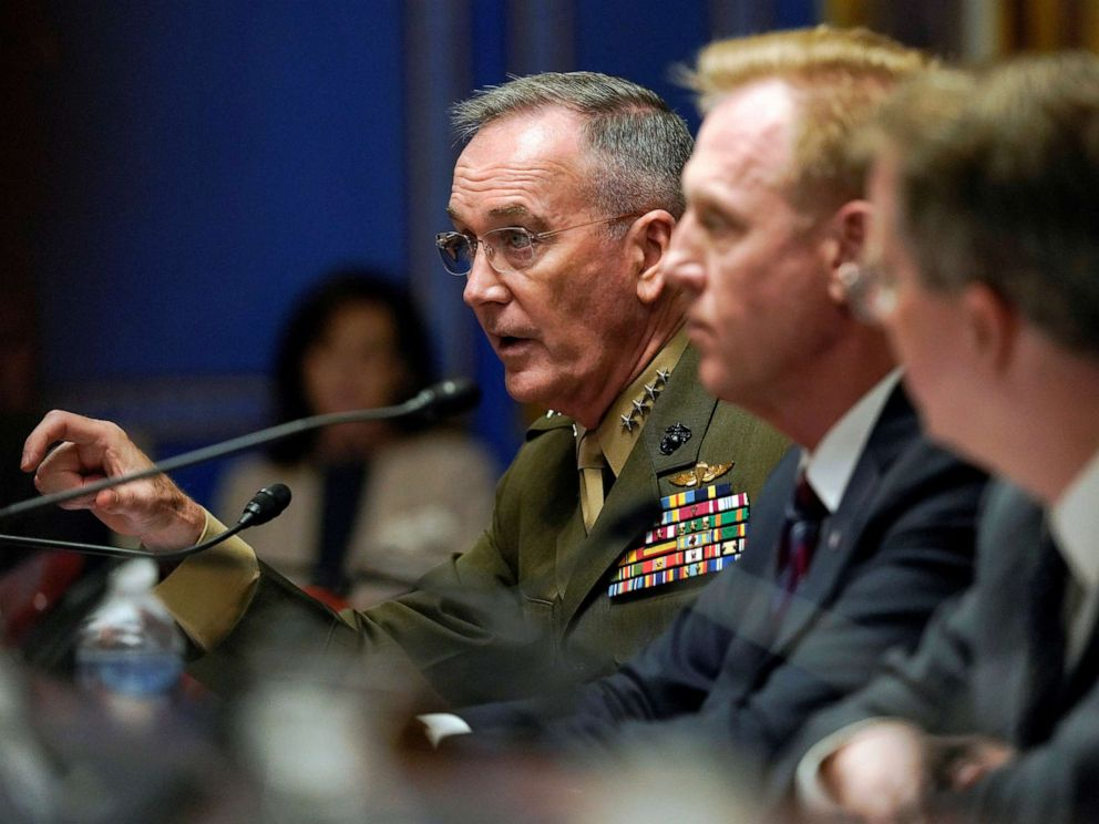 PHOTO: Chairman of the Joint Chiefs of Staff General Joseph Dunford testifies before a Senate Appropriations Defense Subcommittee hearing on the proposed FY2020 budget for the Defense Department on Capitol Hill in Washington, May 8, 2019.