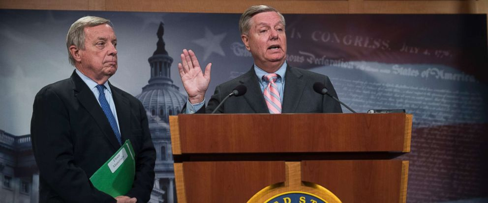 PHOTO: Sens. Richard Durbin and Lindsey Graham conduct a news conference in the Capitol on a bipartisan DREAM Act, which would create a path to citizenship for immigrants who grew up in the U.S., Sept. 5, 2017.
