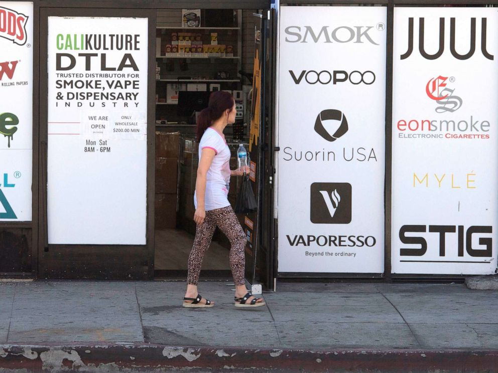 PHOTO: A vaping store is seen before the Los Angeles County Department of Public Health press conference to announce an investigation into deaths associated with the use of e-cigarettes, also known as vaping, in Los Angeles on September 6, 2019.