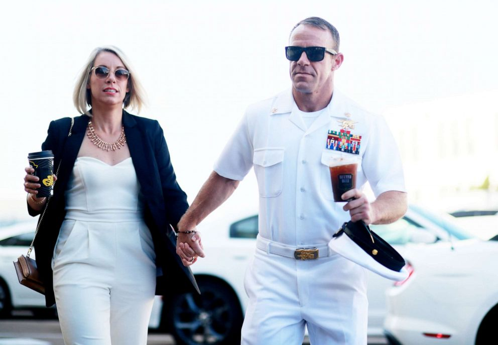 PHOTO: Navy Special Operations Chief Edward Gallagher walks into military court with his wife Andrea Gallagher, July 2, 2019, in San Diego.