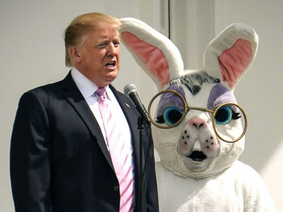 PHOTO: President Donald Trump speaks during the annual White House Easter Egg Roll on the South Lawn of the White House, April 22, 2019.