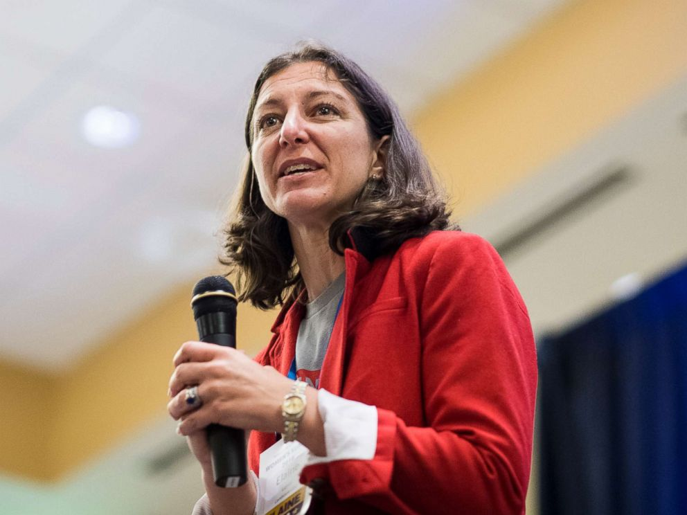 PHOTO: Elaine Luria, Democratic candidate for the 2nd congressional district of Virginia, speaks during the Womens Summit in Herndon, Va., on June 23, 2018.