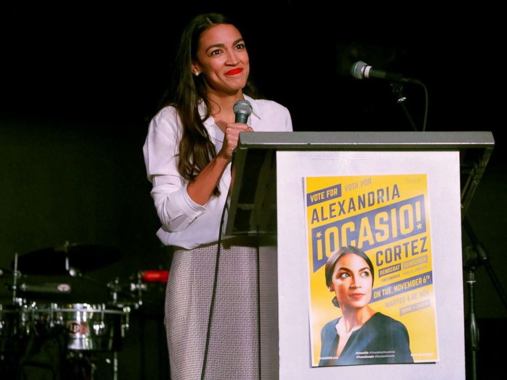 PHOTO: Democratic congressional candidate Alexandria Ocasio-Cortez speaks at her midterm election night party in New York, Nov. 6, 2018.