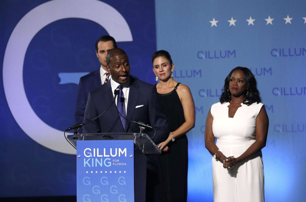PHOTO: Democratic Florida gubernatorial nominee and Tallahassee Mayor Andrew Gillum concedes the race to Rep. Ron DeSantis during his midterm election night rally in Tallahassee, Fla., Nov. 6, 2018.