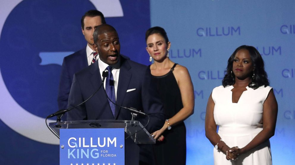 Democratic Florida gubernatorial nominee and Tallahassee Mayor Andrew Gillum concedes the race to Rep. Ron DeSantis during his midterm election night rally in Tallahassee, Fla., Nov. 6, 2018.