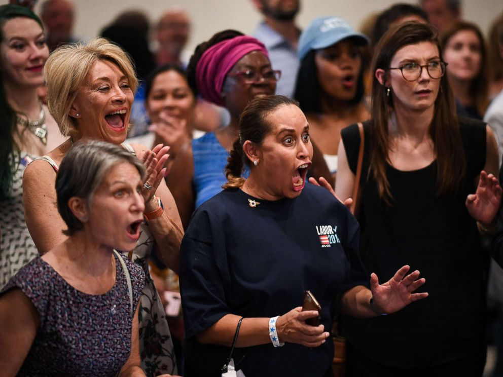 PHOTO: Supporters of Sen. Bill Nelson react during an election night event at the Embassy Suites on November 6, 2018 in Orlando, Fla.