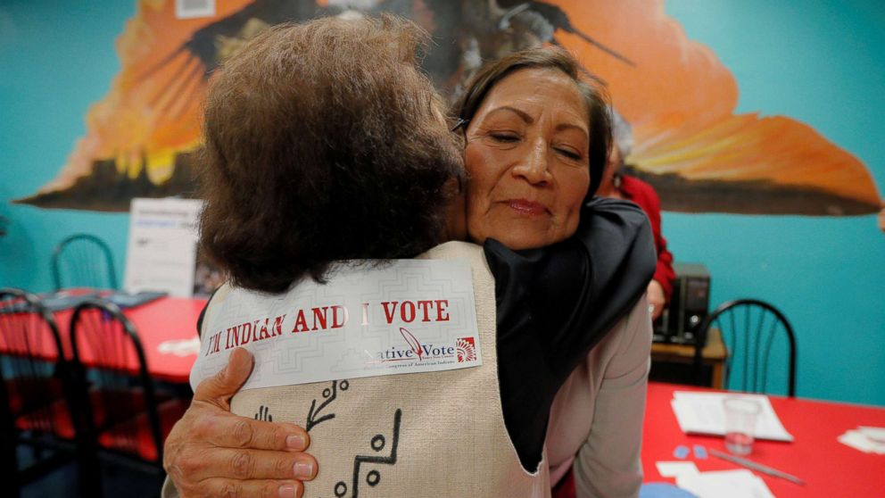 Democratic Congressional candidate Deb Haaland hugs a supporter at a Native Vote Celebration on midterm elections night in Albuquerque, N.M., Nov. 6, 2018.