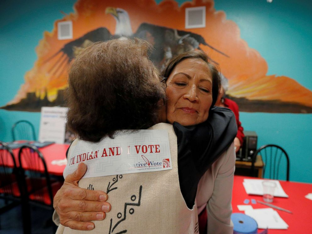 PHOTO: Democratic Congressional candidate Deb Haaland hugs a supporter at a Native Vote Celebration on midterm elections night in Albuquerque, N.M., Nov. 6, 2018.