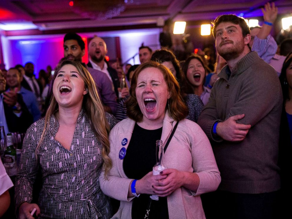 PHOTO: Alyssa Giammarella and Claire Viall cheer as they watch election results come in at a Democratic election night rally in Washington, Nov. 6, 2018.