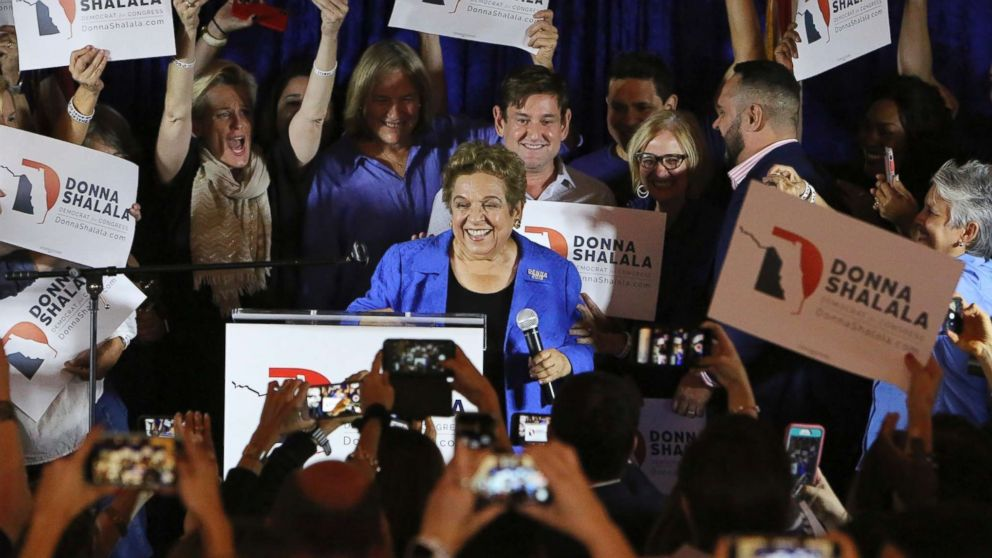 Democratic candidate Donna Shalala celebrates her victory over Republican television journalist Maria Elvira Salazar at the Coral Gables Woman's Club, Tuesday, Nov., 6, 2018, in Coral Gables, Fla.