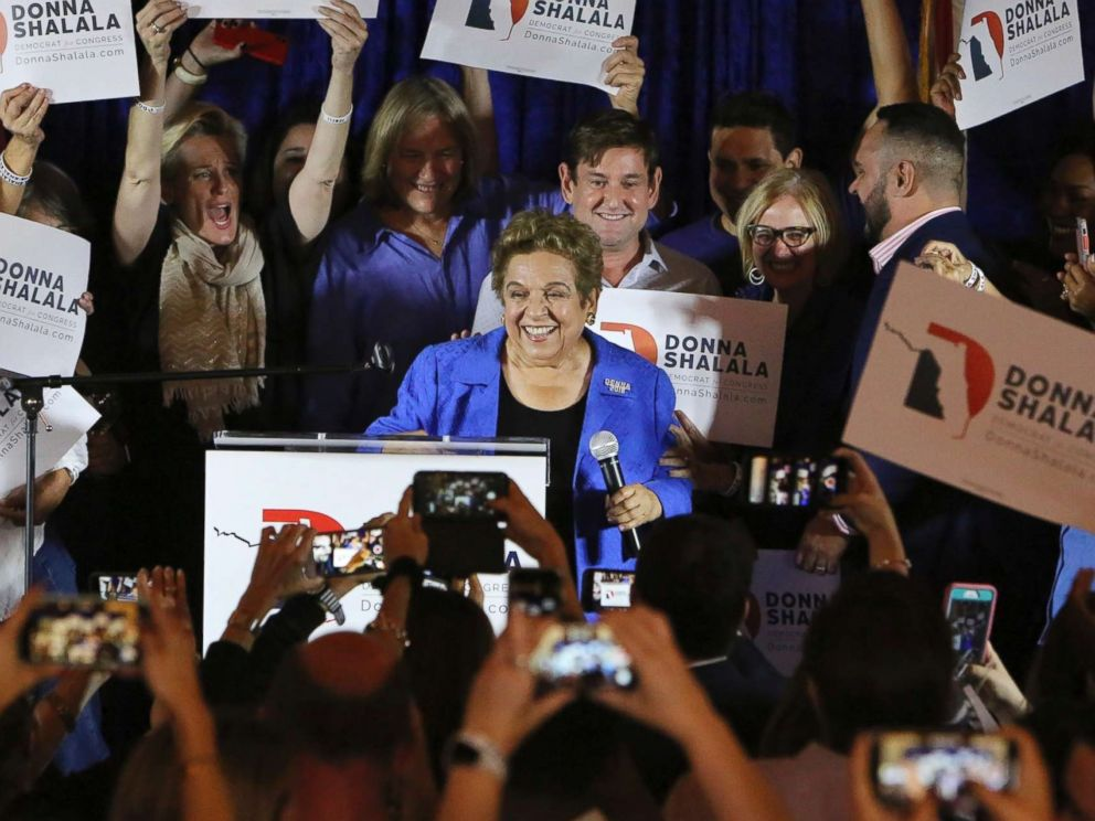 PHOTO: Democratic candidate Donna Shalala celebrates her victory over Republican television journalist Maria Elvira Salazar at the Coral Gables Womans Club, Tuesday, Nov., 6, 2018, in Coral Gables, Fla.