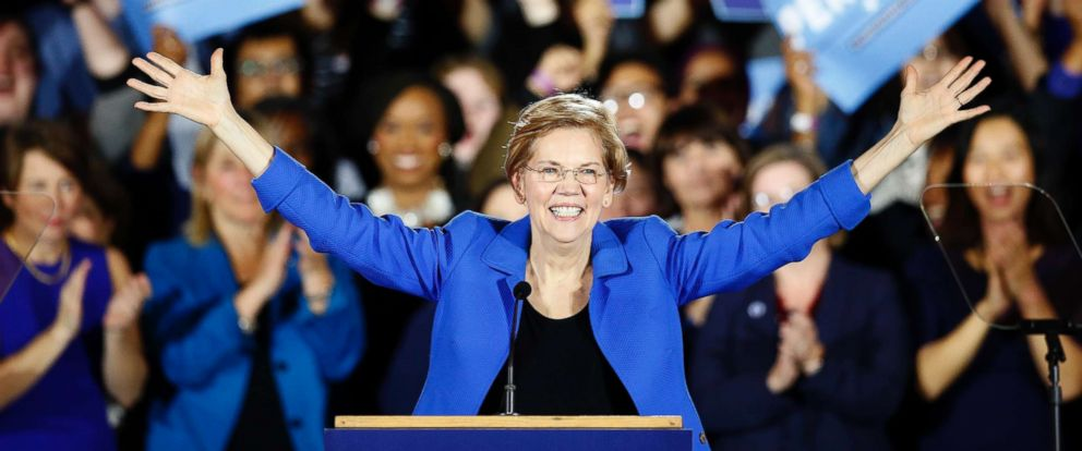 PHOTO: Sen. Elizabeth Warren gives her victory speech at a Democratic election watch party in Boston, Nov. 6, 2018.