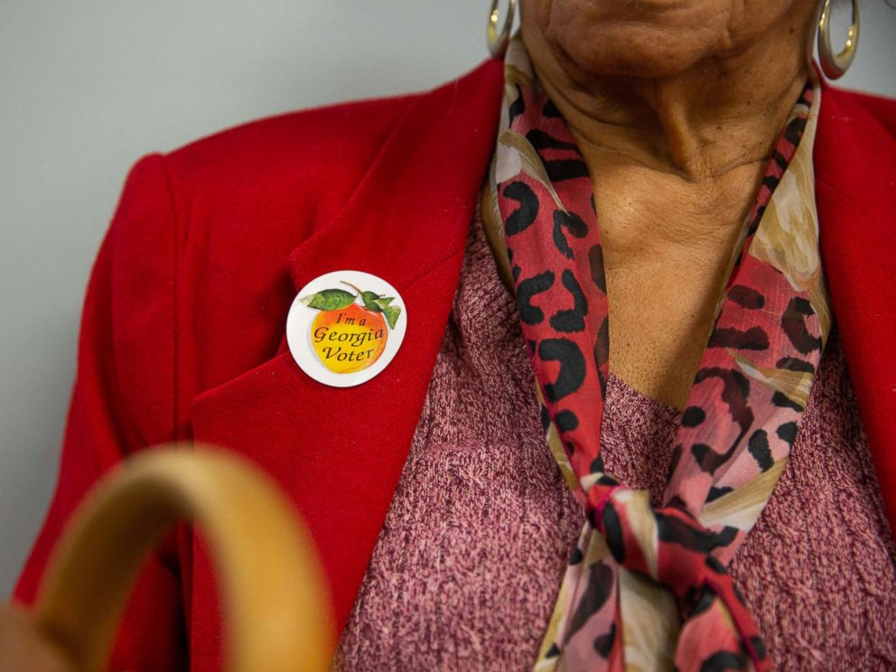PHOTO: A voter wears a sticker that reads Im a Georgia Voter at a polling station in Atlanta, Ga., Nov. 6, 2018.