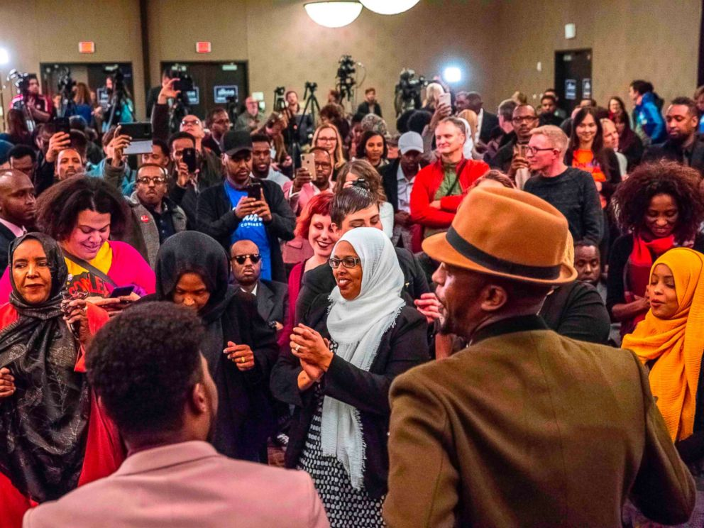 PHOTO: Supporters of Democratic congressional candidate, Ilhan Omar, center, celebrate in Minneapolis, Nov. 6, 2018.