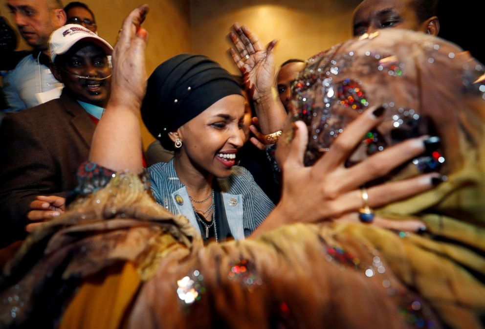 PHOTO: Democratic congressional candidate Ilhan Omar is greeted by her husbands mother after appearing at her midterm election night party in Minneapolis, Nov. 6, 2018.