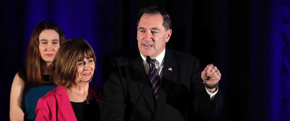 PHOTO: Democrat Sen. Joe Donnelly, joined by his wife Jill, concedes his Senate race after losing to Republican challenger Mike Braun during an election night party in Indianapolis Tuesday Nov. 6, 2018.
