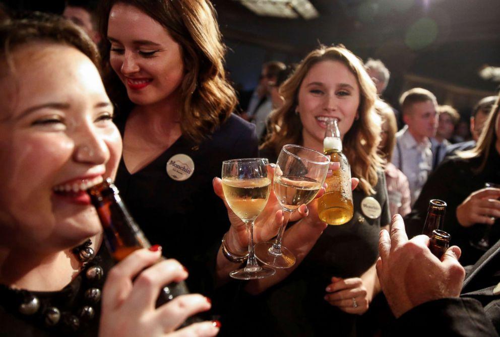 PHOTO: Supporters of Senator Joe Manchin celebrate after he won the 2018 midterm election in Charlestown, W.Va., Nov. 6, 2018.