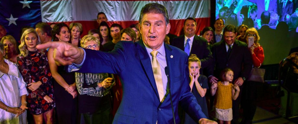 PHOTO: Sen. Joe Manchin calls out to his supporters after he was re-elected Tuesday, Nov. 6, 2018, in Charleston, W.Va.