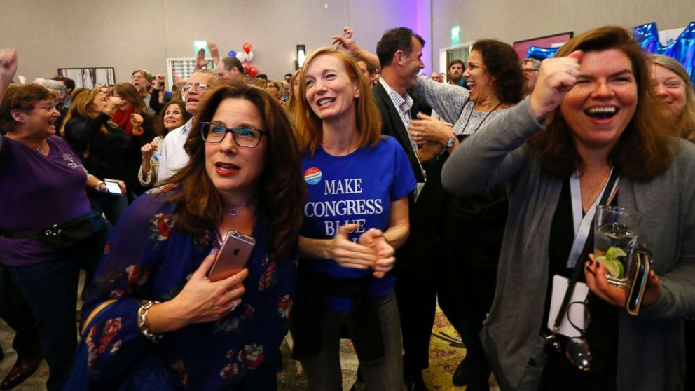 Supporters for Democratic congressional candidate Tom Malinowski react to election results during an election night watch party, Nov. 6, 2018, in Berkeley Heights, N.J.