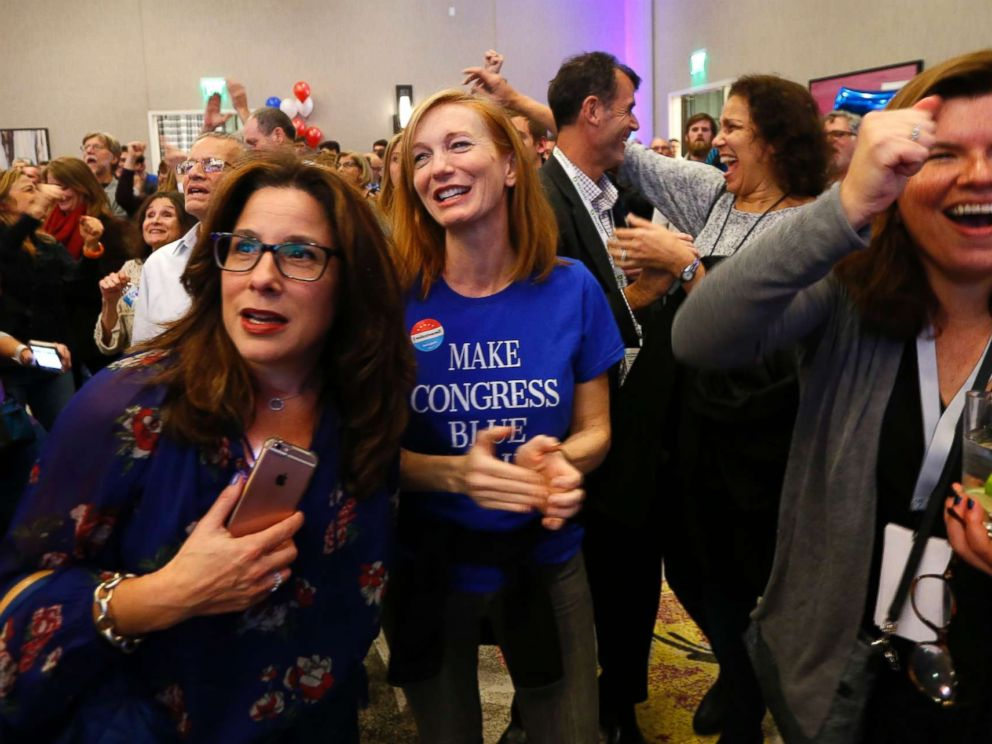 PHOTO: Supporters for Democratic congressional candidate Tom Malinowski react to election results during an election night watch party, Nov. 6, 2018, in Berkeley Heights, N.J.