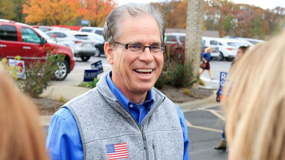 Indiana Republican Mike Braun campaigns for the US Senate in Fishers, Ind., Nov. 6, 2018.