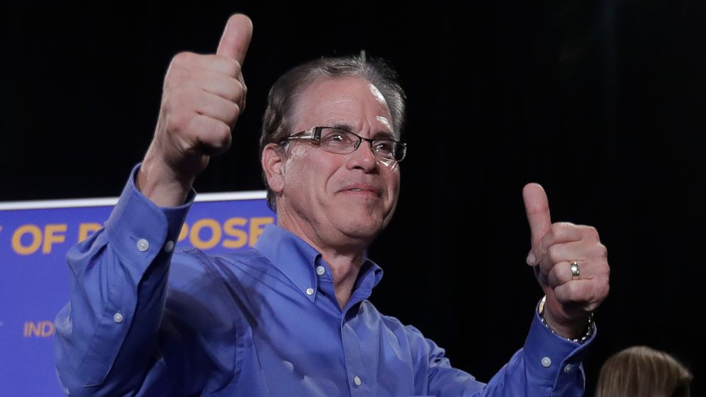Republican Mike Braun reacts after speaking during an election night party, Tuesday, Nov. 6, 2018, in Indianapolis, after defeating Sen. Joe Donnelly.