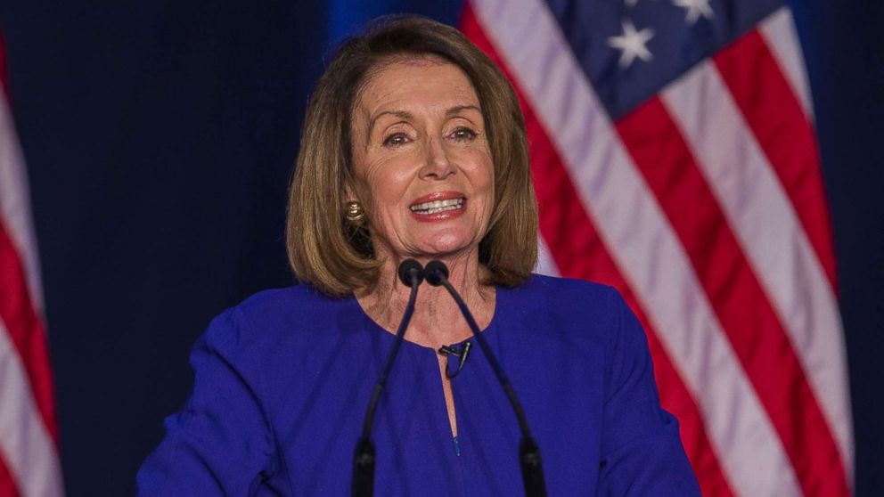 Democratic House Minority leader Nancy Pelosi reacts to early returns from the 2018 midterm general election during a House Democratic Election Night event at the Hyatt Regency in Washington, Nov. 6, 2018.