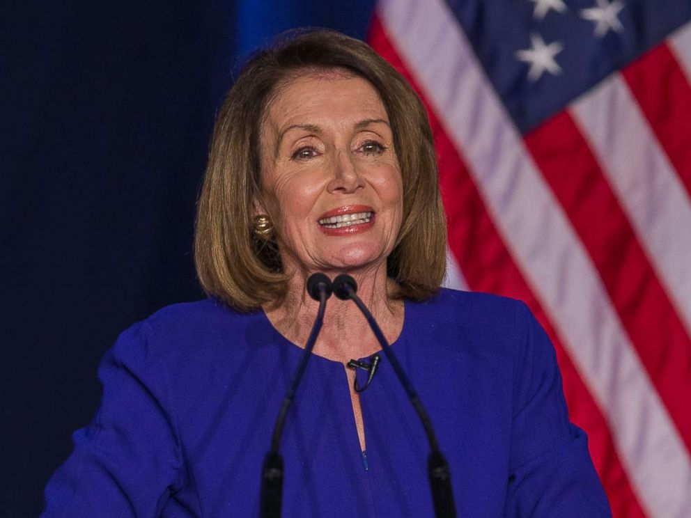 PHOTO: Democratic House Minority leader Nancy Pelosi reacts to early returns from the 2018 midterm general election during a House Democratic Election Night event at the Hyatt Regency in Washington, Nov. 6, 2018.