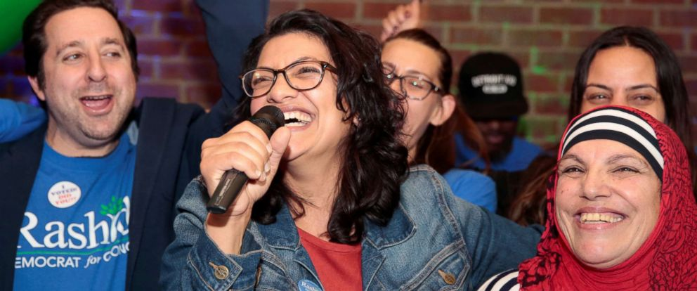 PHOTO: Democratic congressional candidate Rashida Tlaib celebrates with her mother at her midterm election night party in Detroit, Nov. 6, 2018.