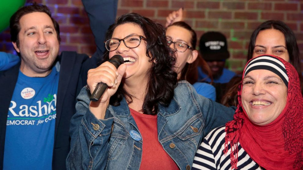 Democratic congressional candidate Rashida Tlaib celebrates with her mother at her midterm election night party in Detroit, Nov. 6, 2018.