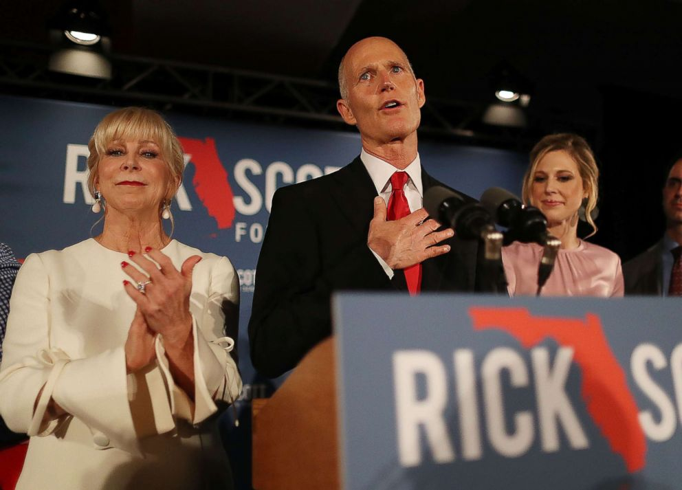 PHOTO: Florida Governor Rick Scott speaks during his election night party at the LaPlaya Beach & Golf Resort on Nov. 06, 2018 in Naples, Fla.
