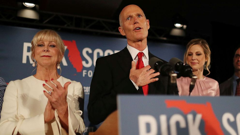 Florida Governor Rick Scott speaks during his election night party at the LaPlaya Beach & Golf Resort on Nov. 06, 2018 in Naples, Fla.