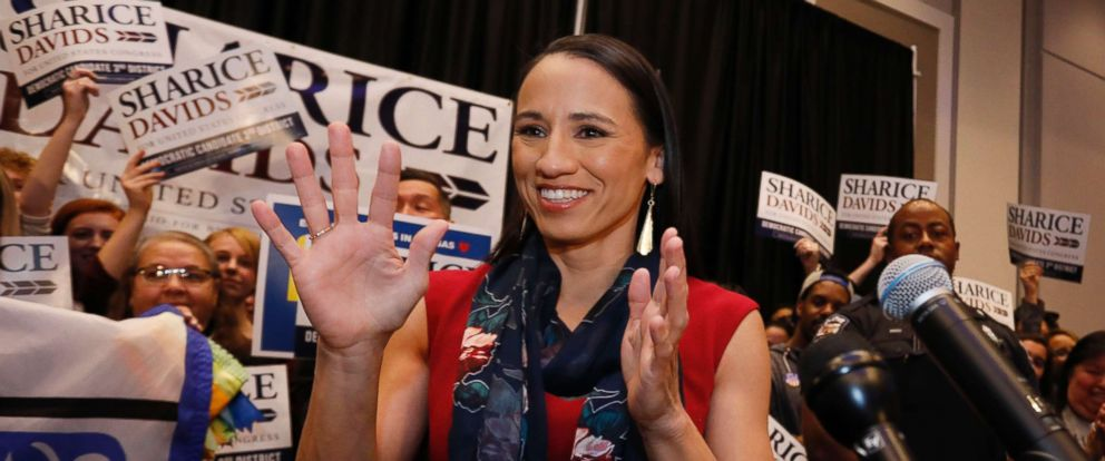 PHOTO: Democrat house candidate Sharice Davids reacts before speaking to supporters at a victory party in Olathe, Kan., Nov. 6, 2018.
