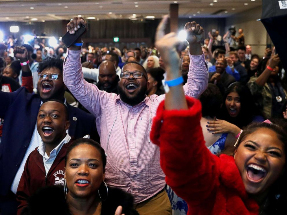 PHOTO: Supporters react after the Abrams campaign announced they were closing the gap during a midterm election night party for Georgia Democratic gubernatorial nominee Stacey Abrams in Atlanta, Nov. 6, 2018.