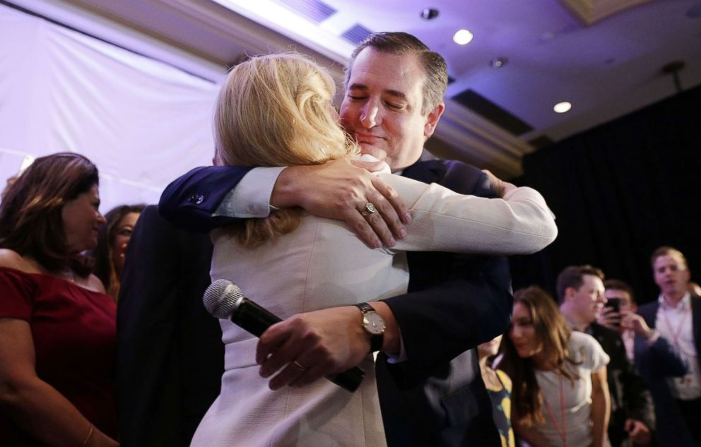 PHOTO: Ted Cruz hugs his wife Heidi after declaring victory at their election night headquarters at the Hilton Post Oak in Houston, Texas, Nov. 6, 2018.
