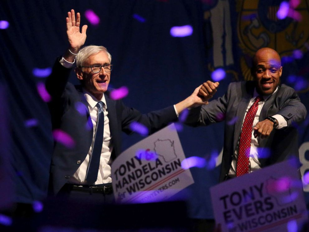 PHOTO: Wisconsin Democratic gubernatorial candidate Tony Evers, left, and Lieutenant Governor candidate Mandela Barnes appear at a post election party at the Orpheum Theater in Madison, Wis., Nov. 7, 2018.