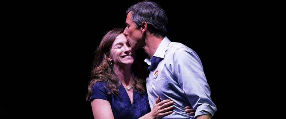 PHOTO: Rep. Beto ORourke kisses his wife, Amy Sanders, at his election night party, Nov. 6, 2018, in El Paso, Texas