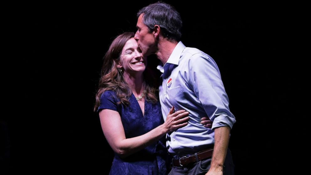 Rep. Beto O'Rourke kisses his wife, Amy Sanders, at his election night party, Nov. 6, 2018, in El Paso, Texas.