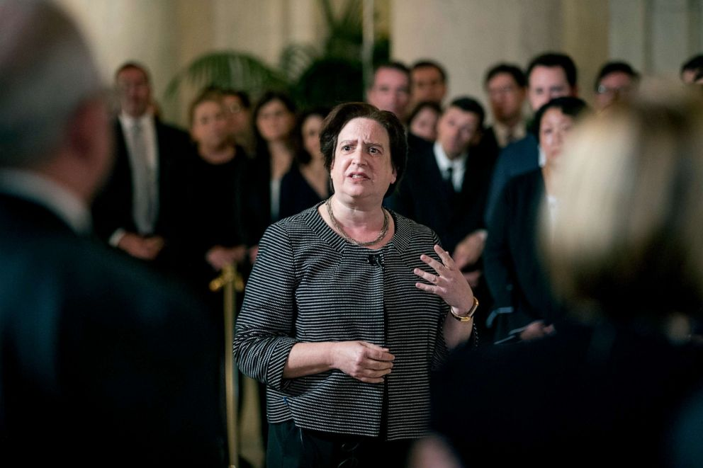 PHOTO: Associate Justice Elena Kagan speaks at a private ceremony in the Great Hall of the Supreme Court in Washington, July 22, 2019, where late Supreme Court Justice John Paul Stevens lies in repose.