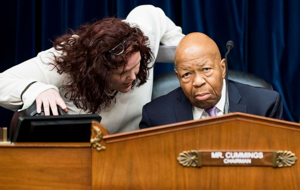 PHOTO: Chairman Elijah Cummings speaks with staff before the start of the House Oversight and Reform Committee markup of a resolution authorizing issuance of subpoenas related to security clearances and the 2020 Census on April 2, 2019.
