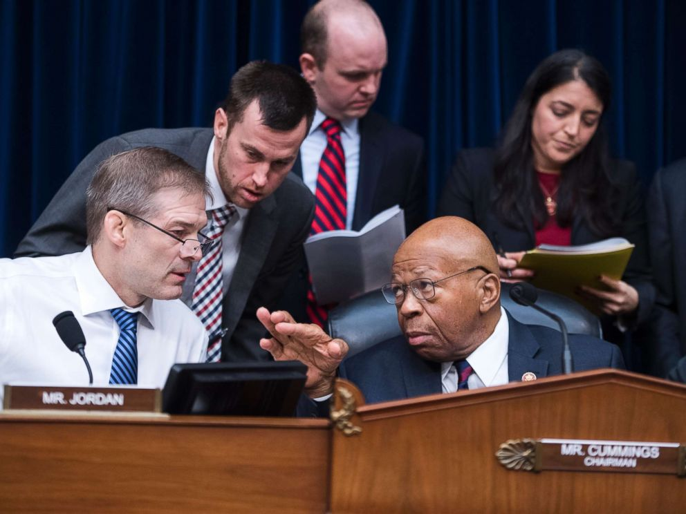 PHOTO: Chairman Elijah Cummings and ranking member Rep. Jim Jordan conduct a House Oversight and Reform Committee business meeting in Rayburn Building, Jan. 29, 2019.