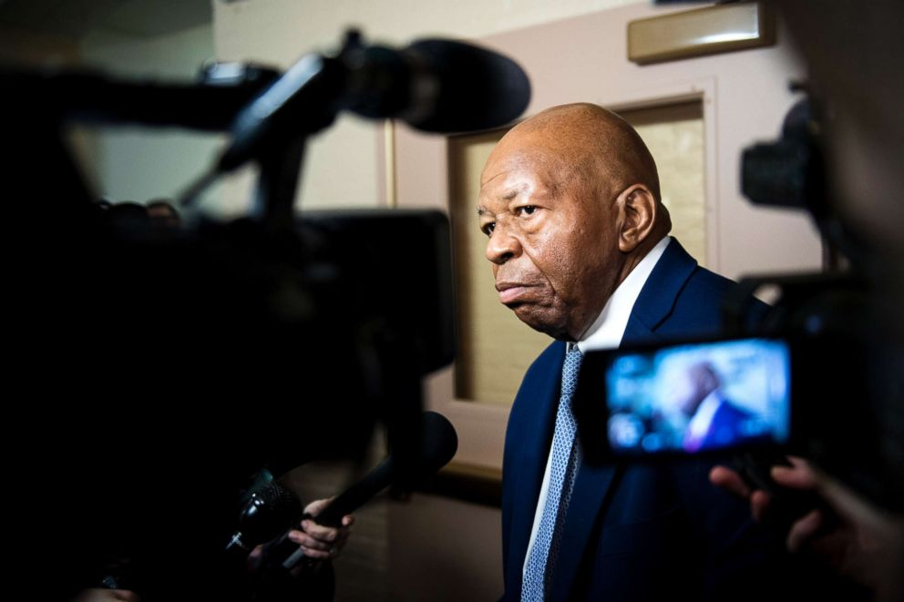 PHOTO: Rep. Elijah Cummings leaves the House Democrats caucus meeting in the Capitol, Jan. 4, 2019, in Washington, DC.