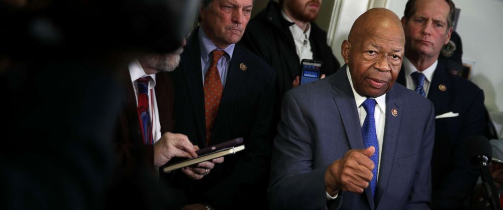 PHOTO: Committee chairman Rep. Elijah Cummings (D-MD) speaks to members of the media after Michael Cohen, former attorney and fixer for President Donald Trump, testified before the House Oversight Committee on Capitol Hill, Feb. 27, 2019.