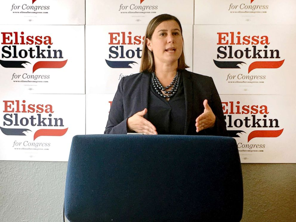 PHOTO: Elissa Slotkin, a Democratic candidate for Congress from Michigan, speaks during a news conference at her campaign headquarters in Lansing, Mich., July 31, 2018.