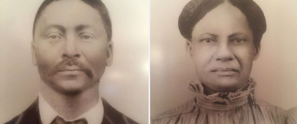 PHOTO: William Harris, left, was the son of Sam and Betsy Harris who were enslaved and sold by Georgetown University and the Society of Jesus in 1838. Right is his wife, Charity Harris.