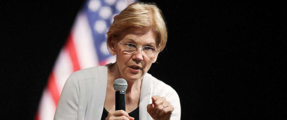 PHOTO: Sen. Elizabeth Warren speaks during a town hall style gathering in Woburn, Mass., Aug. 8, 2018.