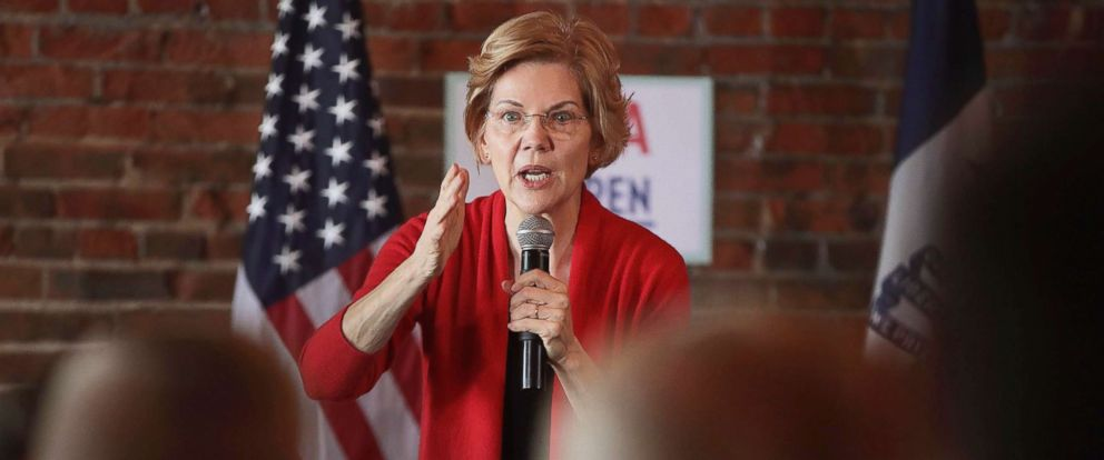 PHOTO: Sen. Elizabeth Warren speaks at a campaign rally at the Stone Cliff Winery on March 1, 2019, in Dubuque, Iowa.