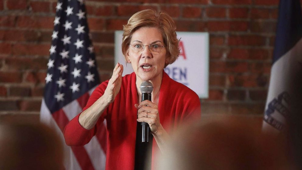 Sen. Elizabeth Warren speaks at a campaign rally at the Stone Cliff Winery on March 1, 2019, in Dubuque, Iowa.