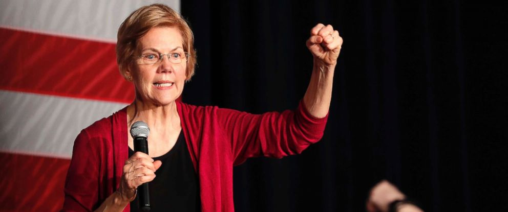 PHOTO: Sen. Elizabeth Warren speaks during an organizing event at Curate event space in Des Moines, Iowa.