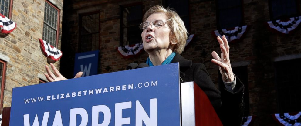 PHOTO: Sen. Elizabeth Warren, D-Mass., speaks during an event to formally launch her presidential campaign, Saturday, Feb. 9, 2019, in Lawrence, Mass.